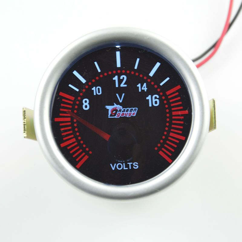 52mm Sunglasses Pointer Auto Volt Gauge  Auto Gauge Car Styling Car Voltage meter Free shipping
