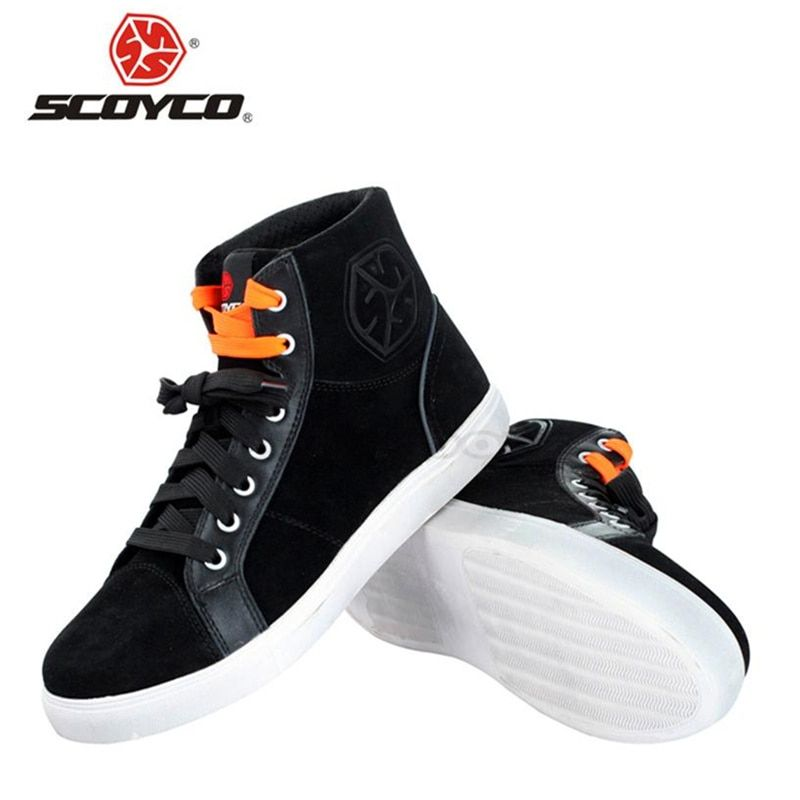 SCOYCO Motorcycle Boots Fashion Casual Wear Motorbike Riding Shoes Brushed Leather Street Racing Boots Breathable Biker Boots