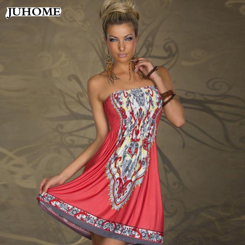 summer Sundress Strapless sexy Dress women clothing 2018 ice milk silk beach hippie boho tunic african print dresses robe <font><b>femme</b></font>