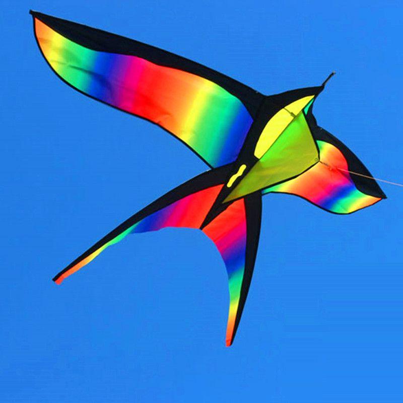 172 CM Coloré Hirondelle Kite Belle Arc-En-Couleur Cerf-Volant Cerfs-volants D'oiseaux Contrôle Facile Voler avec poignée Ligne Enfants Présents Cadeau