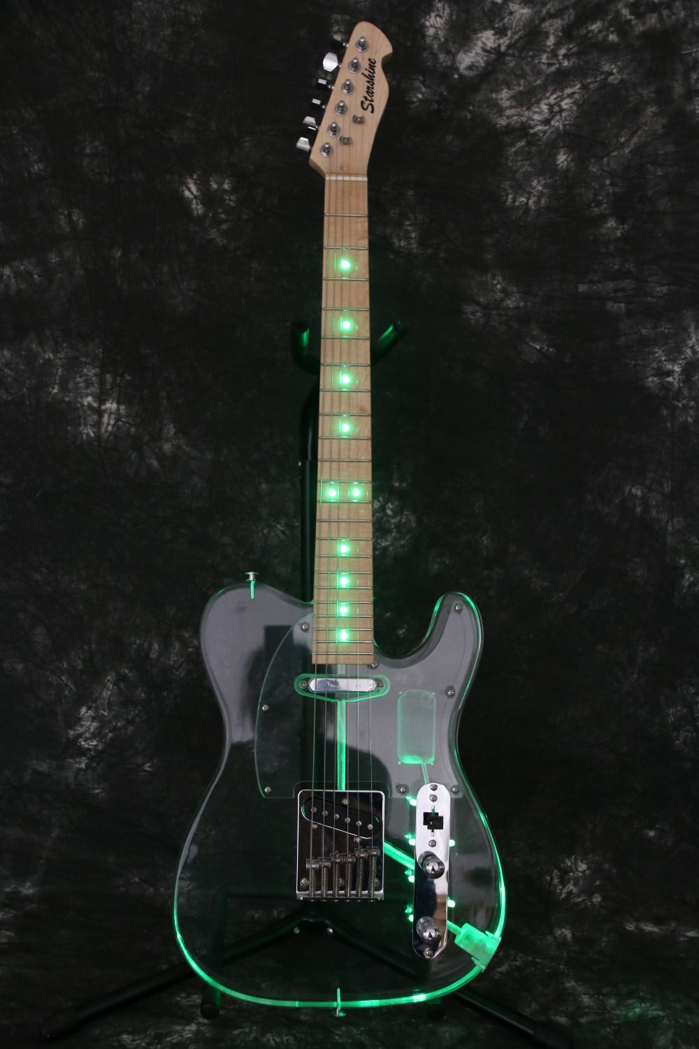 Export Factory quality Crystal body Green led light Tele Electric guitar Guitarra all color Accept Free Shipping