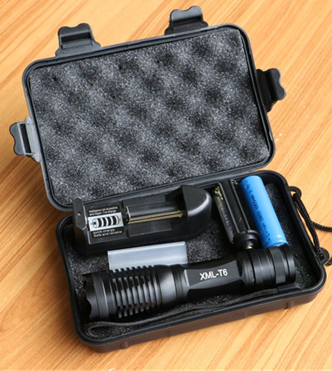 CREE XML T6 LED Tactical Flashlight 10000 <font><b>Lumens</b></font> Lanterna Adjustable led Torch Zoomable Flashlight + Charger +1* 18650 Battery