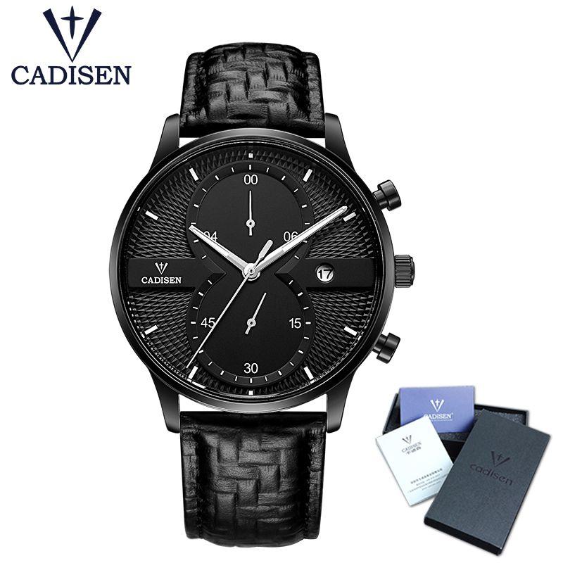 Relogio masculino CADISEN Herrenuhren Top-marke Luxus Fashion Business Quarzuhr Männer Sport Leder Wasserdichte Armbanduhr
