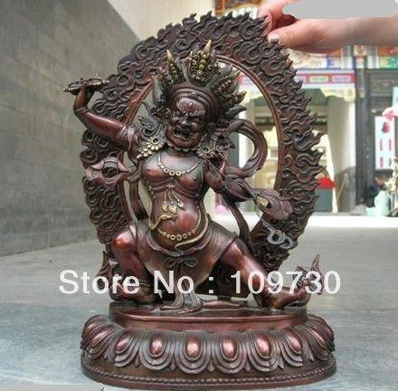001021 12 ZOLL Tibet tempel Reines Rot Bronze exquisite Geschnitzt von Vajrapani Buddha Statue