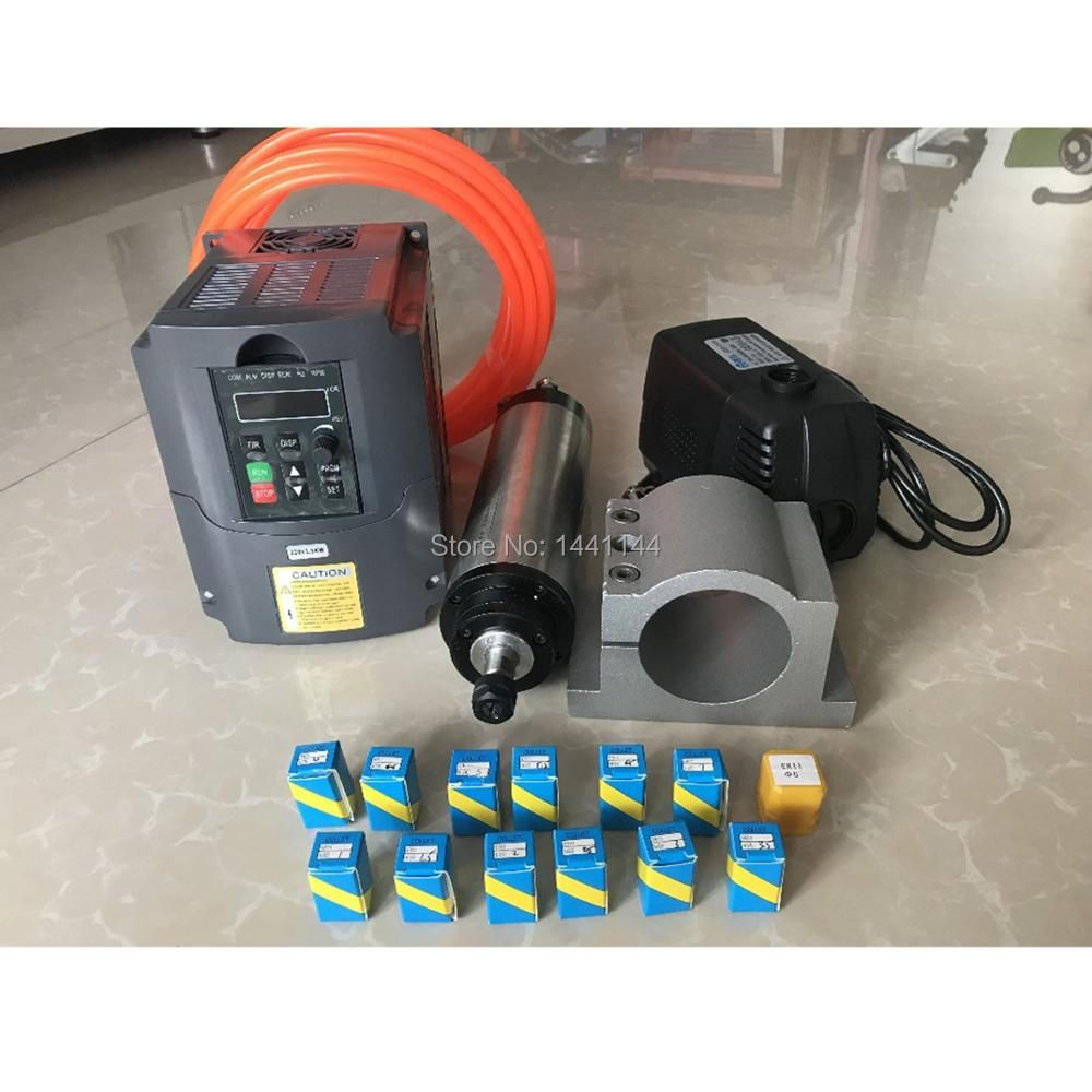 RU Delivery 2.2kw water cooled spindle Motor ER20 Milling Spindle Kit + 2.2kw Inverter / Vfd + 80mm Water Pump + 13pcs ER20 CNC
