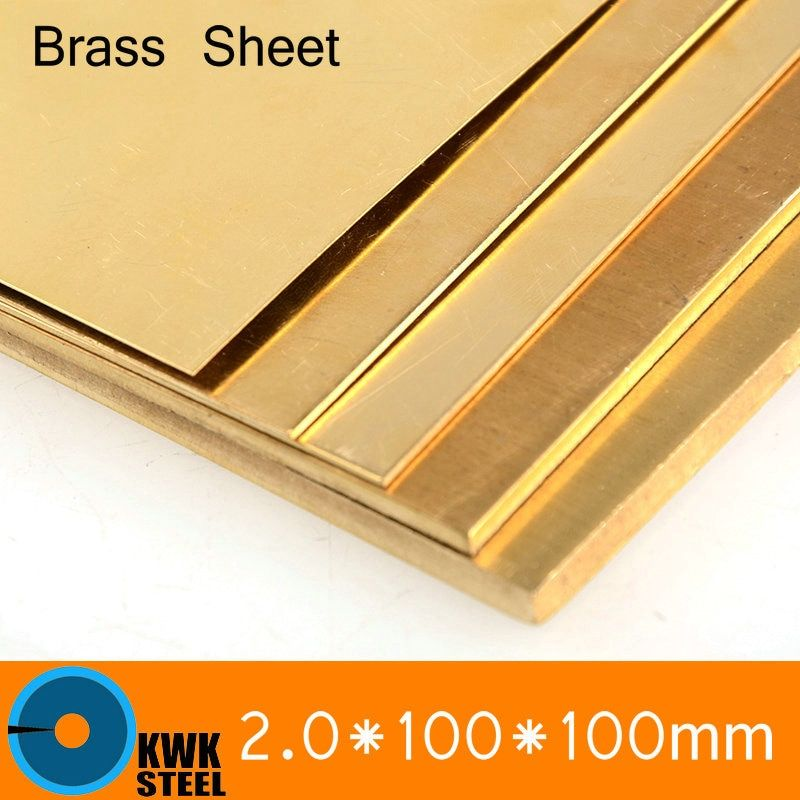 2 * 100 * 100mm Brass Sheet Plate of CuZn40 2.036 CW509N C28000 C3712 H62 Customized Size Laser Cutting NC Free Shipping