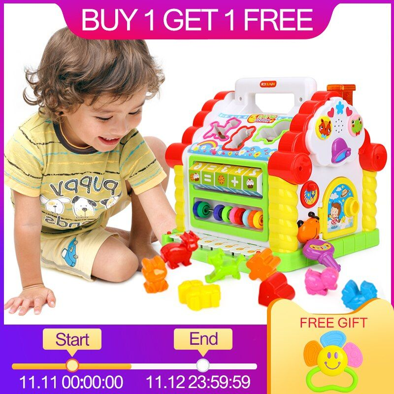 HUILE TOYS 739 <font><b>Multifunctional</b></font> Musical Toys Baby Fun House Musical Electronic Geometric Blocks Sorting Learning Educational Toys