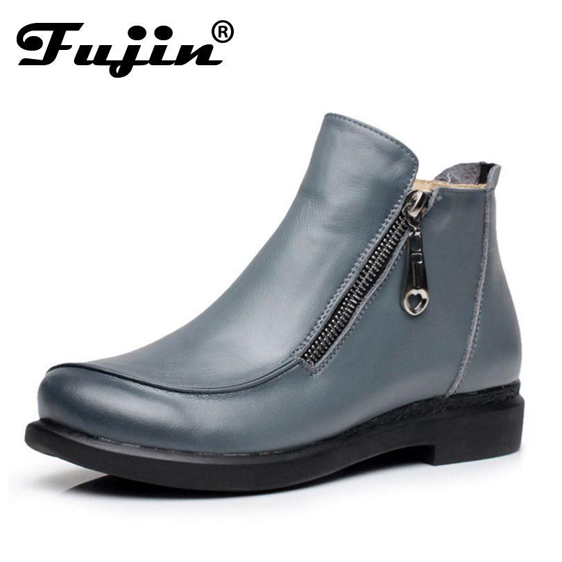 2018 новые осенние женские зимние короткие туфли с плоским каблуком ботинки из натуральной кожи сбоку женские ботильоны на молнии Большой ра...