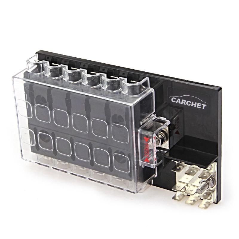 CARCHET Boîte à Fusibles 12-Façon Bloquer Titulaire Circuit Fusible Boîte avec Couvercle pour Auto Voiture Boîte à Fusibles 32 v DC 6.3mm Quick Connect Terminal