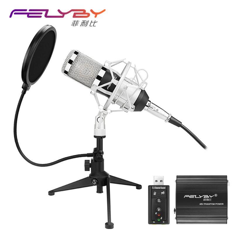 À niveau Professionnelle PC/KTV Microphone BM800 + Microphone À Condensateur Professionnel Audio Studio D'enregistrement Microphone Métal Trépied