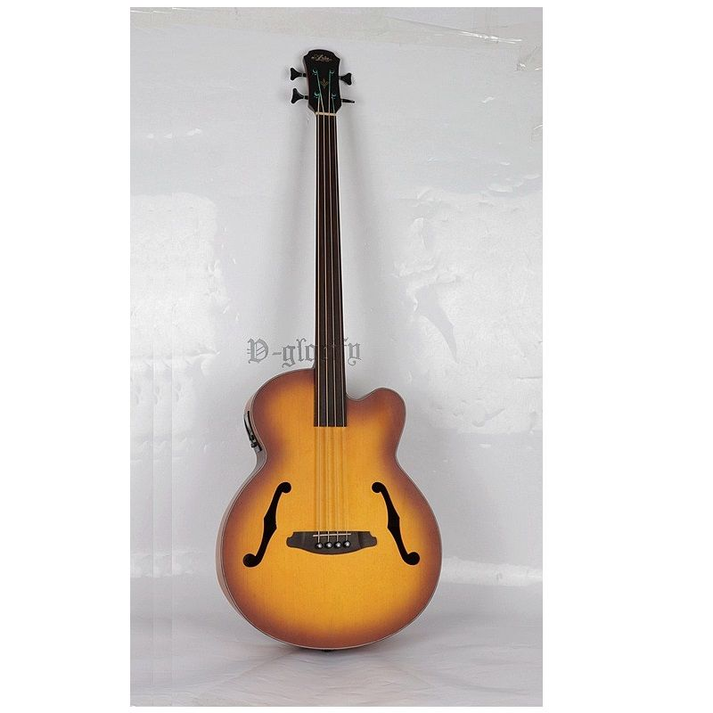 high quality 4 string fretless jazz acoustic-electric bass guitar free shipping