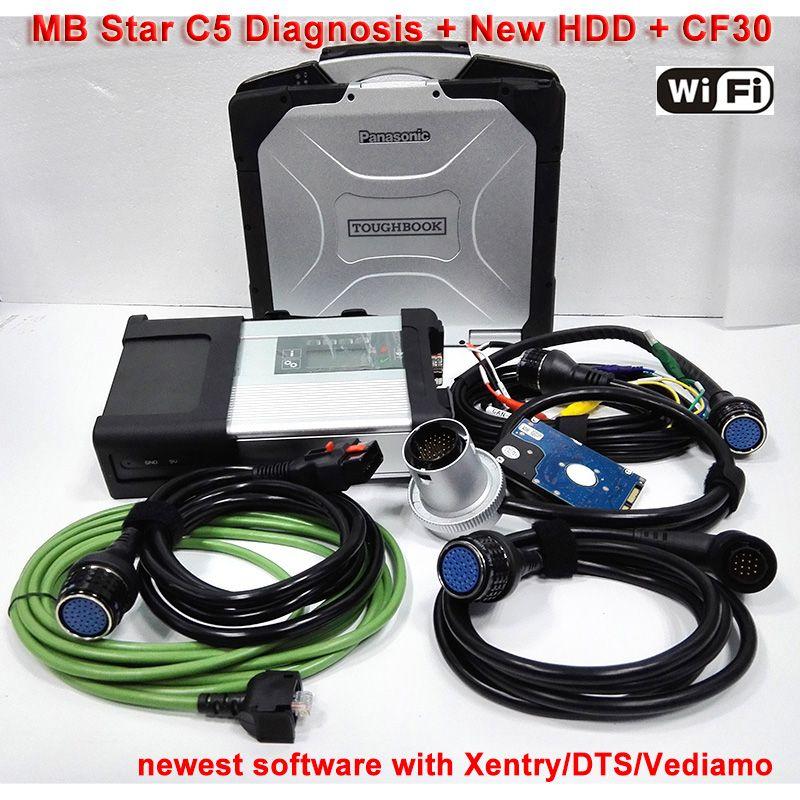 Obd2 MB Sterne C5 mit 3/2018 Software SSD Militär Laptop CF30 Xentry/Vediamo mb c5 Diagnose für lkw Bereit Zu Bedienen Freies Schiff