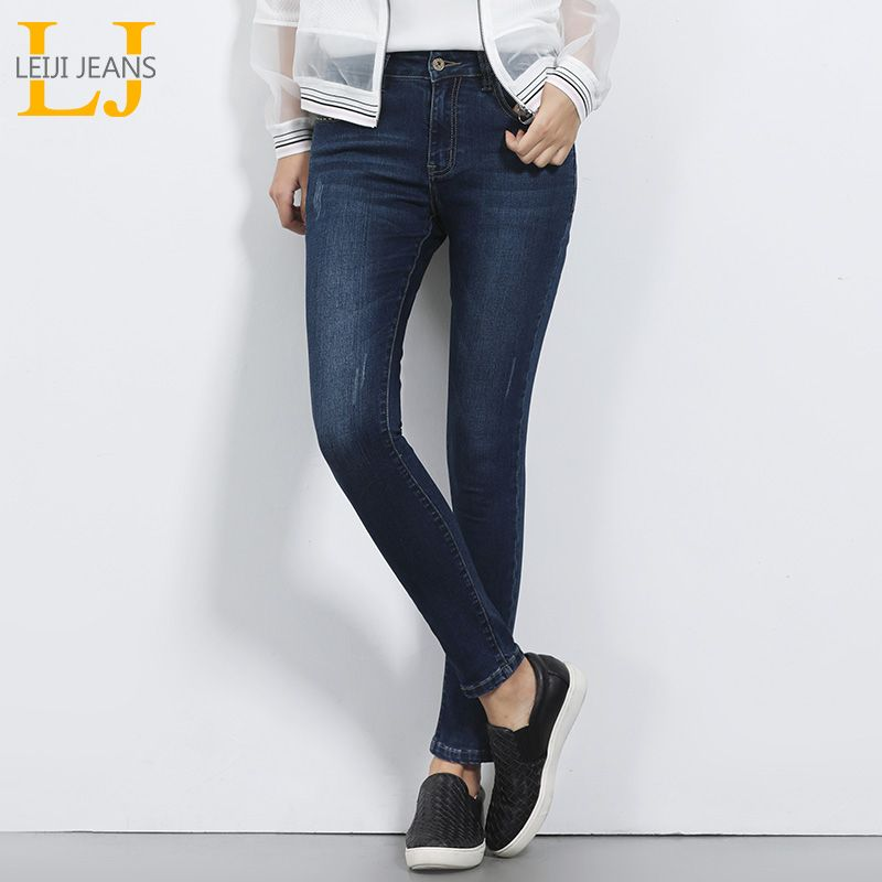 2018 LEIJI JEANS Mid Waist For Women Skinny Jeans Causal Style <font><b>Blue</b></font> Demin Pant Plus Size S-6XL Mid Elastic Full Length Jeans
