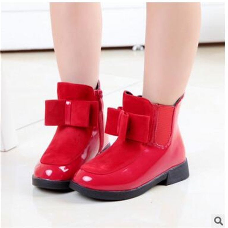 2018 autumn and winter boots children's shoes girls bow in the wind with mid-top of the British boots