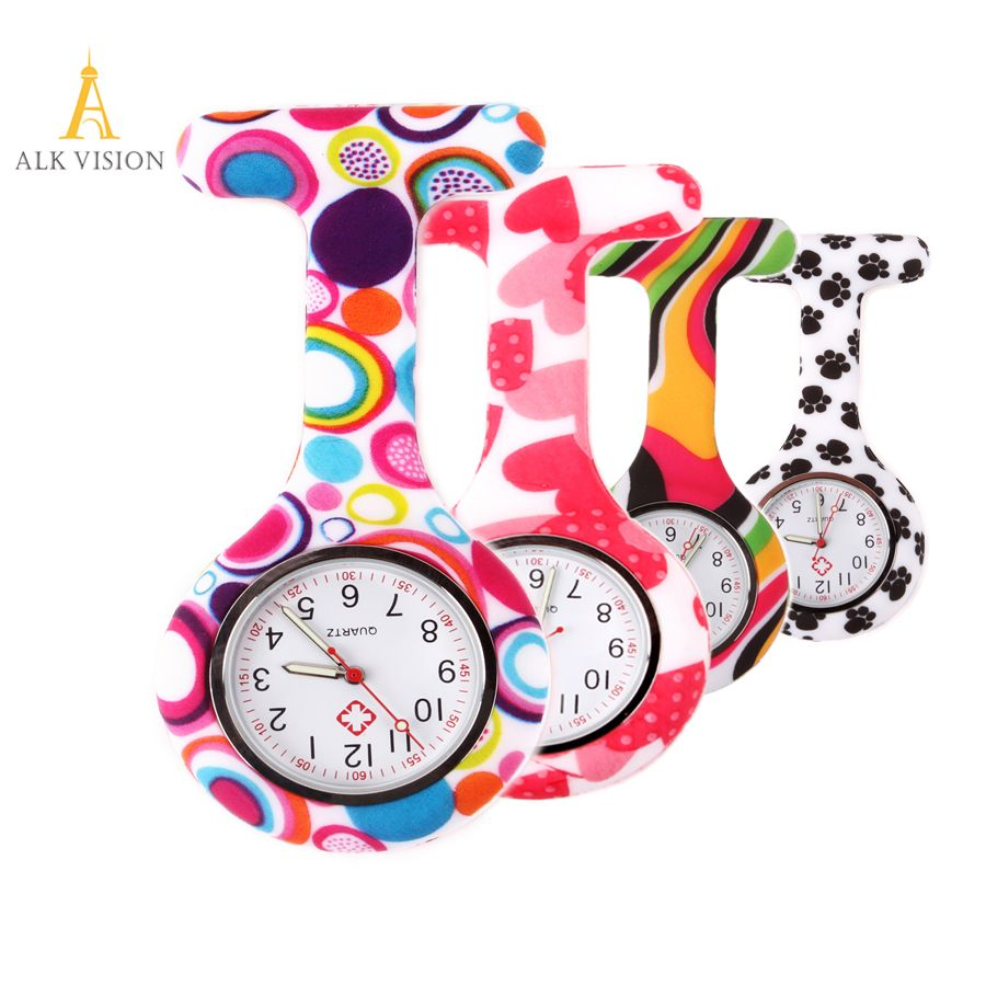 FOB Silicone nurse watch doctor nurse gift butterfly pattern Japanese movt high quality brand hospital nurse watch ALK VISION