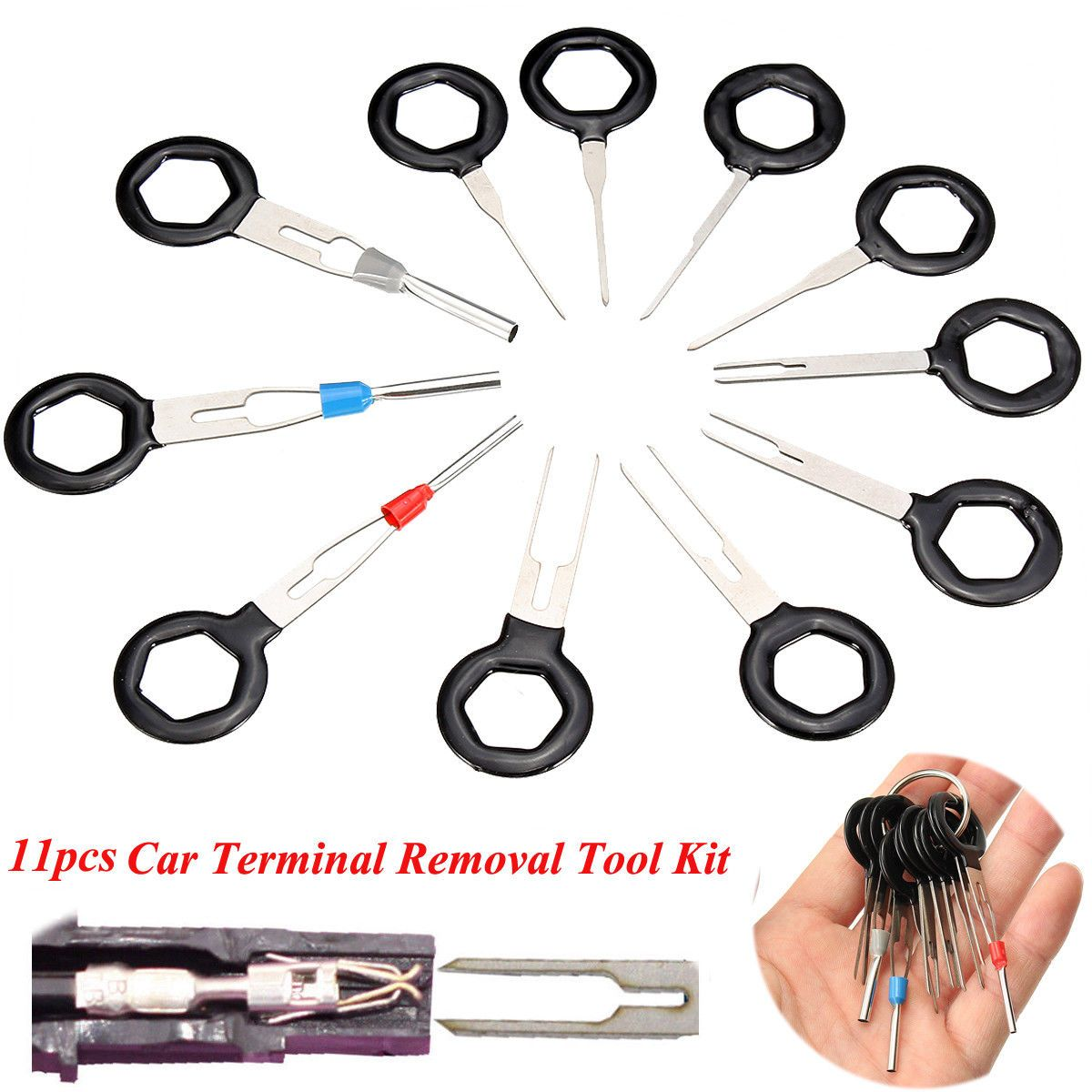 Tire Repair 11Pcs/Set Terminal Removal Tools Car Electrical Wiring Crimp Connector Pin Extractor Kit Back Needle Remove Tool Set