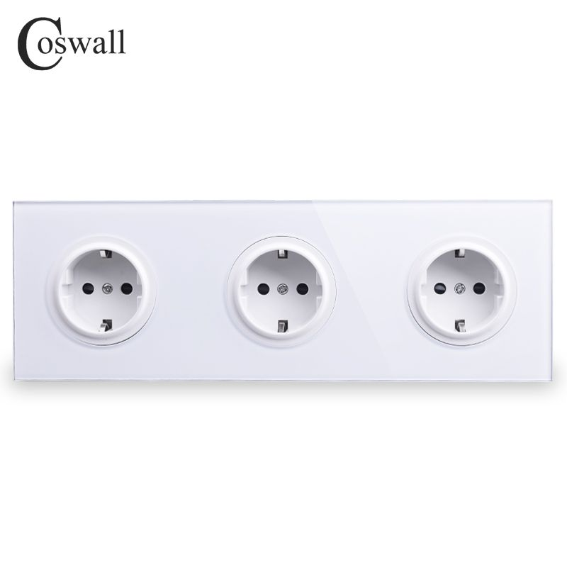 Coswall Crystal Tempered Pure Glass Panel 16A Triple EU Standard Wall Power Socket Outlet Grounded With Child Protective Lock