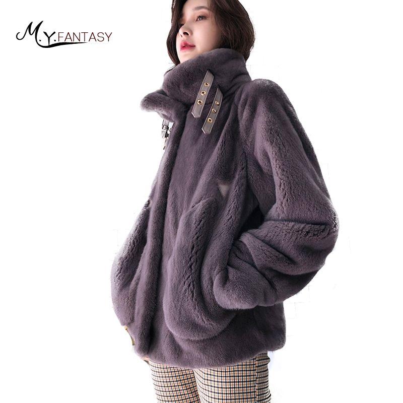M.Y.FANSTY 2018 Winter Smooth Fur Mink Coat Natural Real Fur Coat Loss Causal Mandarin Collar Medium Slim Moto Mink Fur Coats