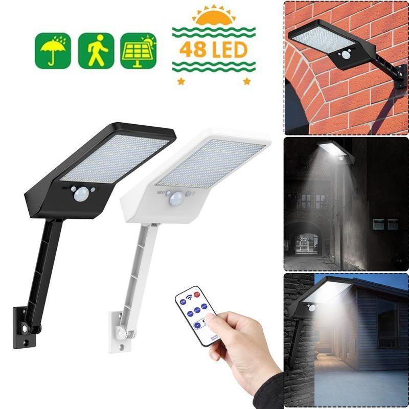 Mis à niveau 48 télécommande LED lumière solaire PIR capteur de mouvement IP65 lampe murale extérieure lampe étanche