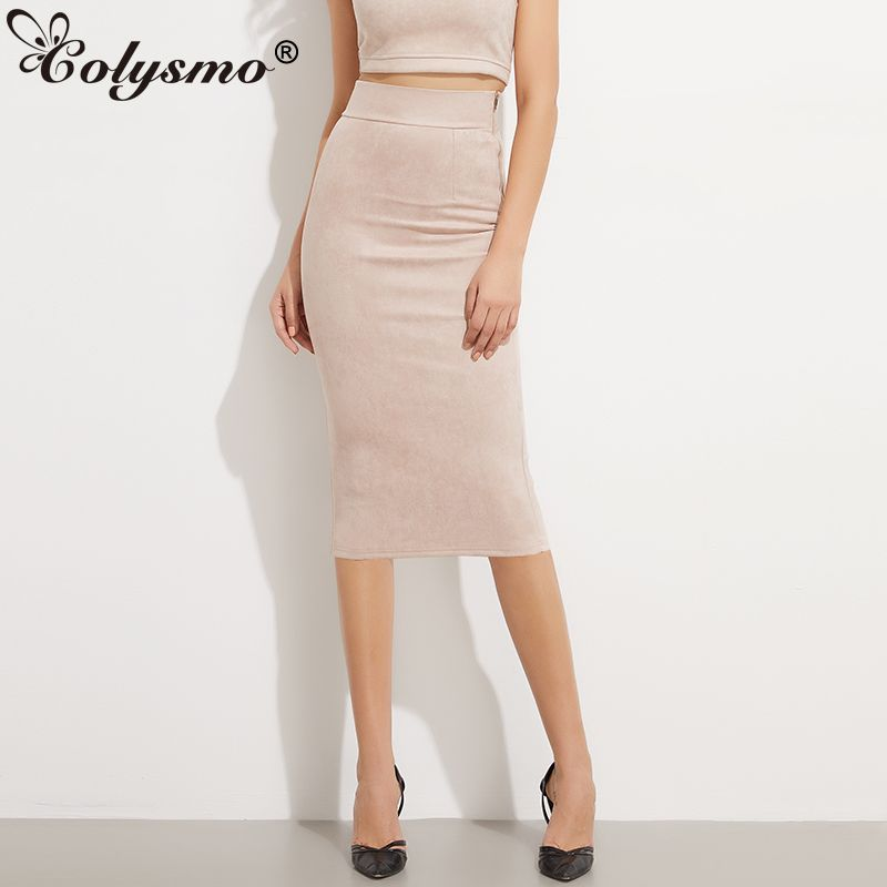 Colysmo Women Vintage High Waist Solid Suede Midi Skirt Back Split Thick Stretchy Faux Leather <font><b>Autumn</b></font> Winter Pencil Skirts New