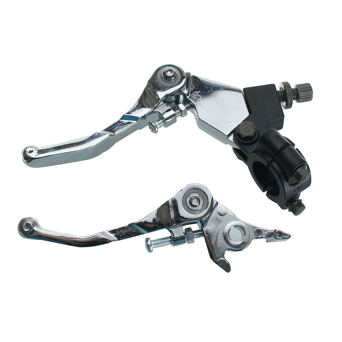 1 Pair Pit Bike Alloy Folding Snap Brake Grip Lever Clutch Set 110cc 125cc 140cc 160cc Chrome