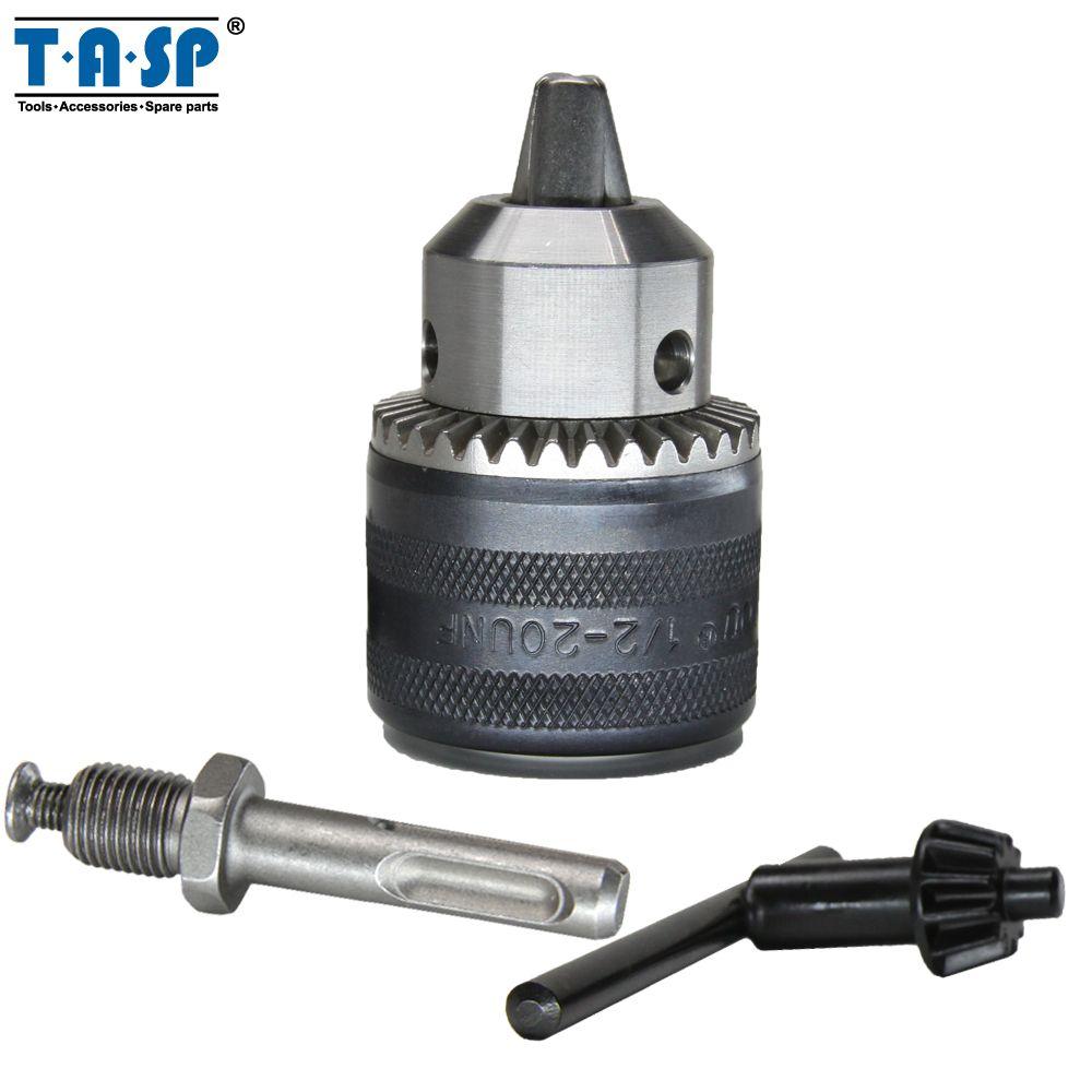 TASP 1.5 ~ 13mm mandrin de perceuse à clé 1/2 20UNF avec clé et adaptateur SDS plus perceuses électriques et marteaux rotatifs accessoires