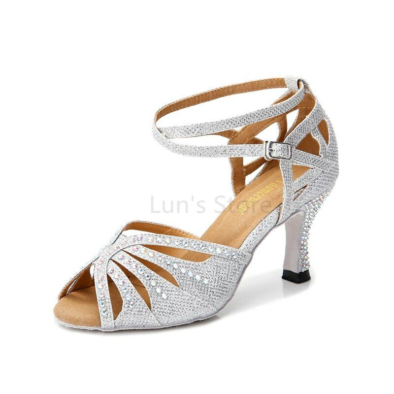 New Ladies Girls Silver Nude Black Blue Satin Rhinestone Salsa Ballroom Dance Shoes Latin Dance Shoes Mambo Dancing Shoes DS369