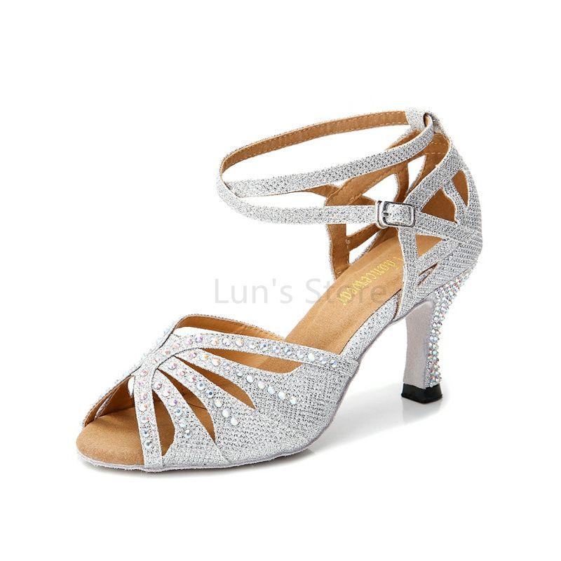Nouveau dames filles argent nu noir bleu Satin strass Salsa chaussures de danse de salle de bal chaussures de danse latine Mambo chaussures de danse DS369