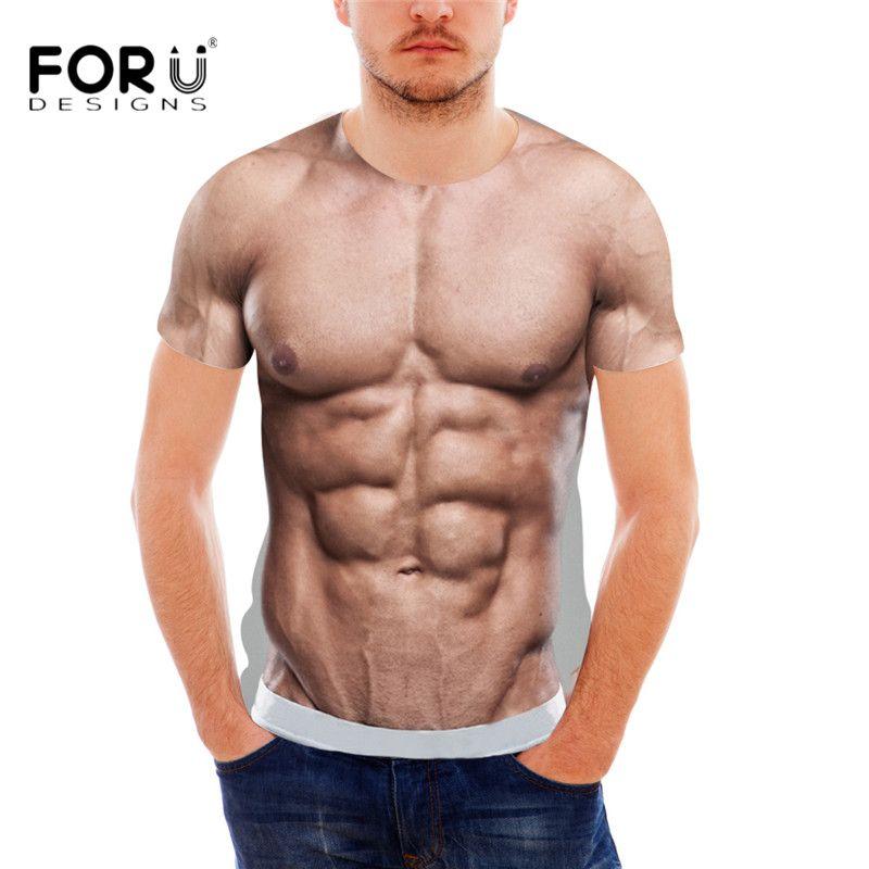 FORUDESIGNS Drôle 3D Muscle Imprimer T Chemise pour Hommes Designer Crossfit Casual Male T Chemises D'été Style À Manches Courtes Hommes Top Tee