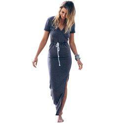 Women dress Personality Slender Waist Line Pencil maxi Dress Short sleeve tie waist pencil long dress casual slit