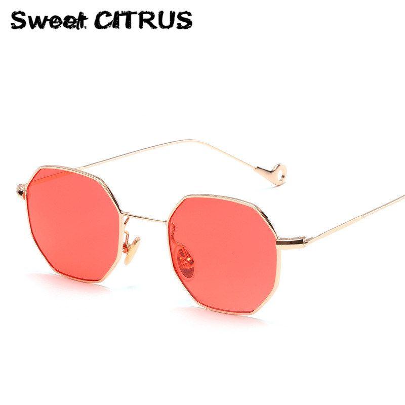 Süße CITRUS 2017 Klassische Hexagon Klar Sonnenbrille Frauen Mode Italien Marke Designer Männer Vintage Metallrahmen Spiegel Sonnenbrille