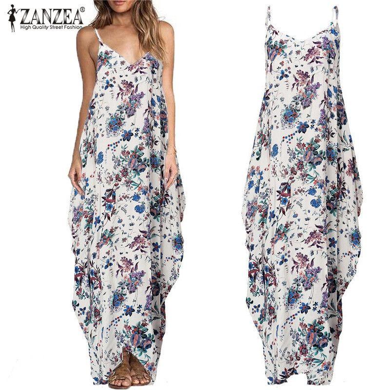 ZANZEA Boho Women 2018 Summer Sexy Straps V-neck Backless Maxi Dress Vintage Floral Print Casual <font><b>Loose</b></font> Long Dresses Vestidos