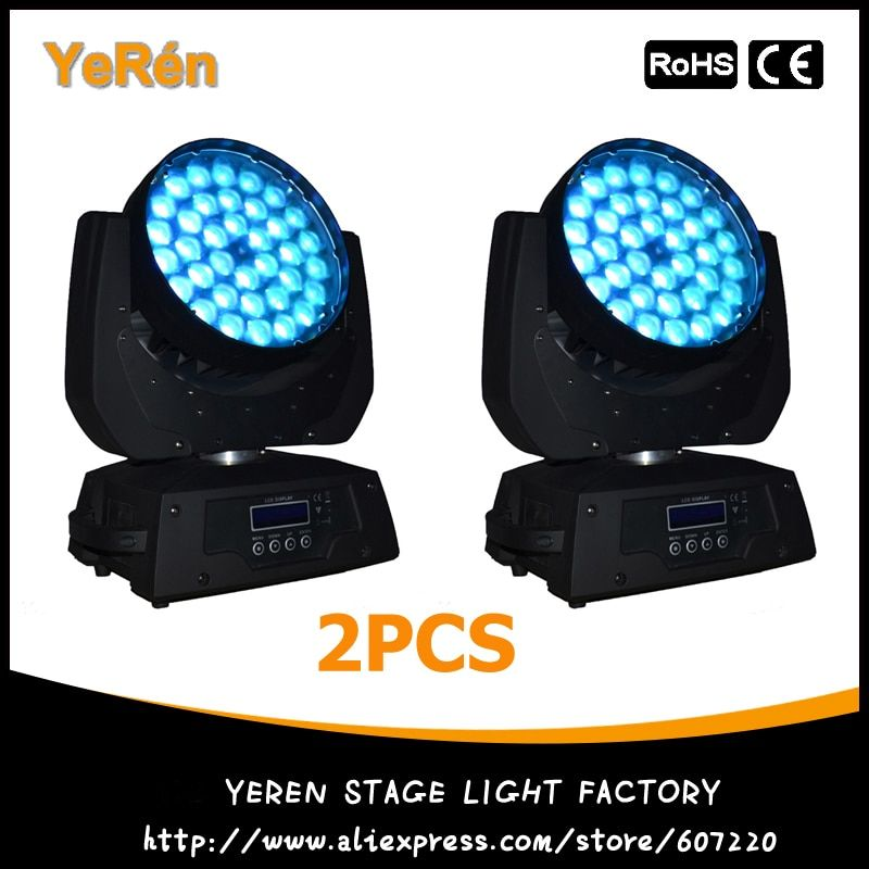 (2PCS) Pro Stage Light 36x10W RGBW LED Moving Head Zoom Wash Light 4in1 Quad Color LED Stage Lighting DJ Light