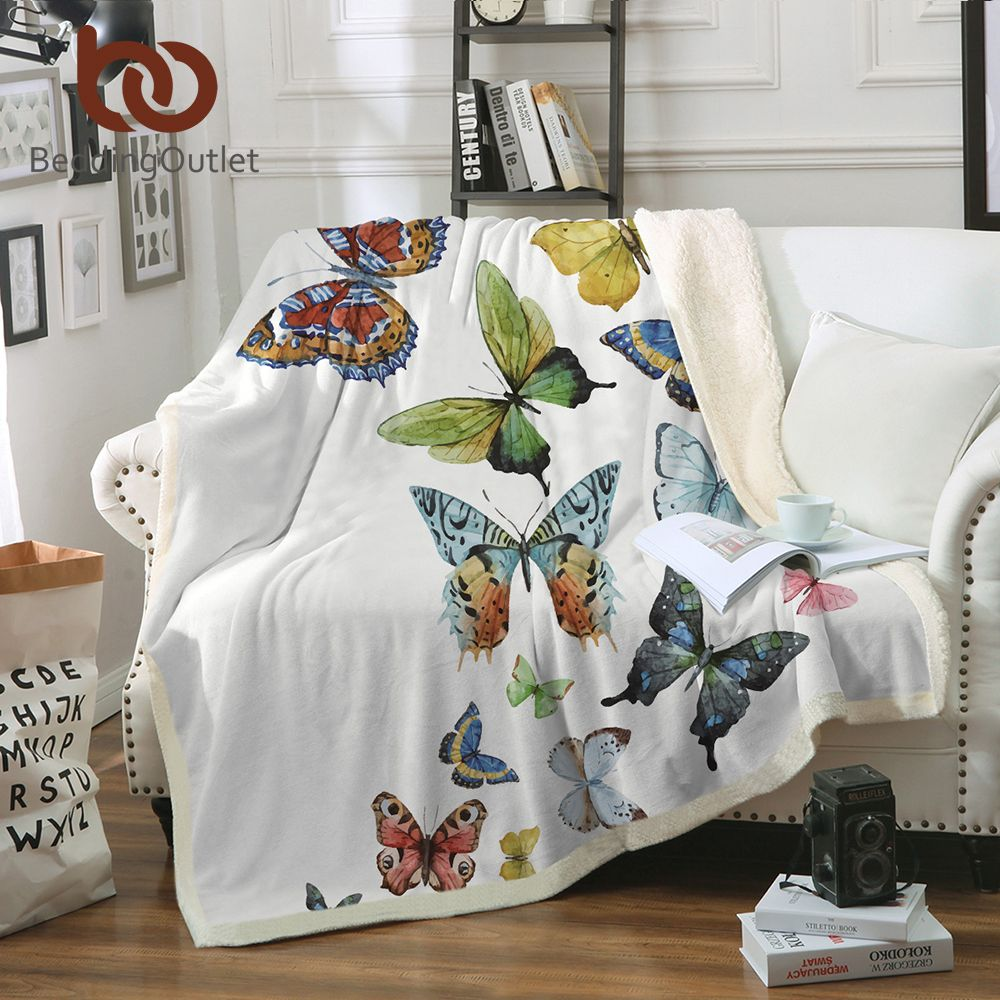 BeddingOutlet Flying Butterflies Sherpa Blanket for Beds Butterfly Plush Throw Blanket Kids Adults Throw Bedding 150x200