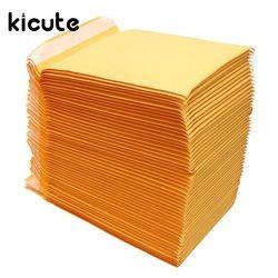 Kicute 50 pcs/lot Kraft Enveloppes À Bulles Rembourré Enveloppes D'expédition Sacs Joint Auto Haute Qualité Business School Bureau Fournitures