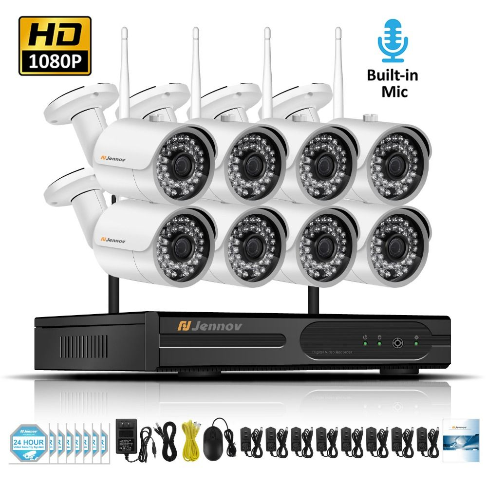8CH 1080P 2MP Wireless Security Cameras For Home IP Camera Video Surveillance System NVR Kit Wifi Audio Record CCTV Set Kamera