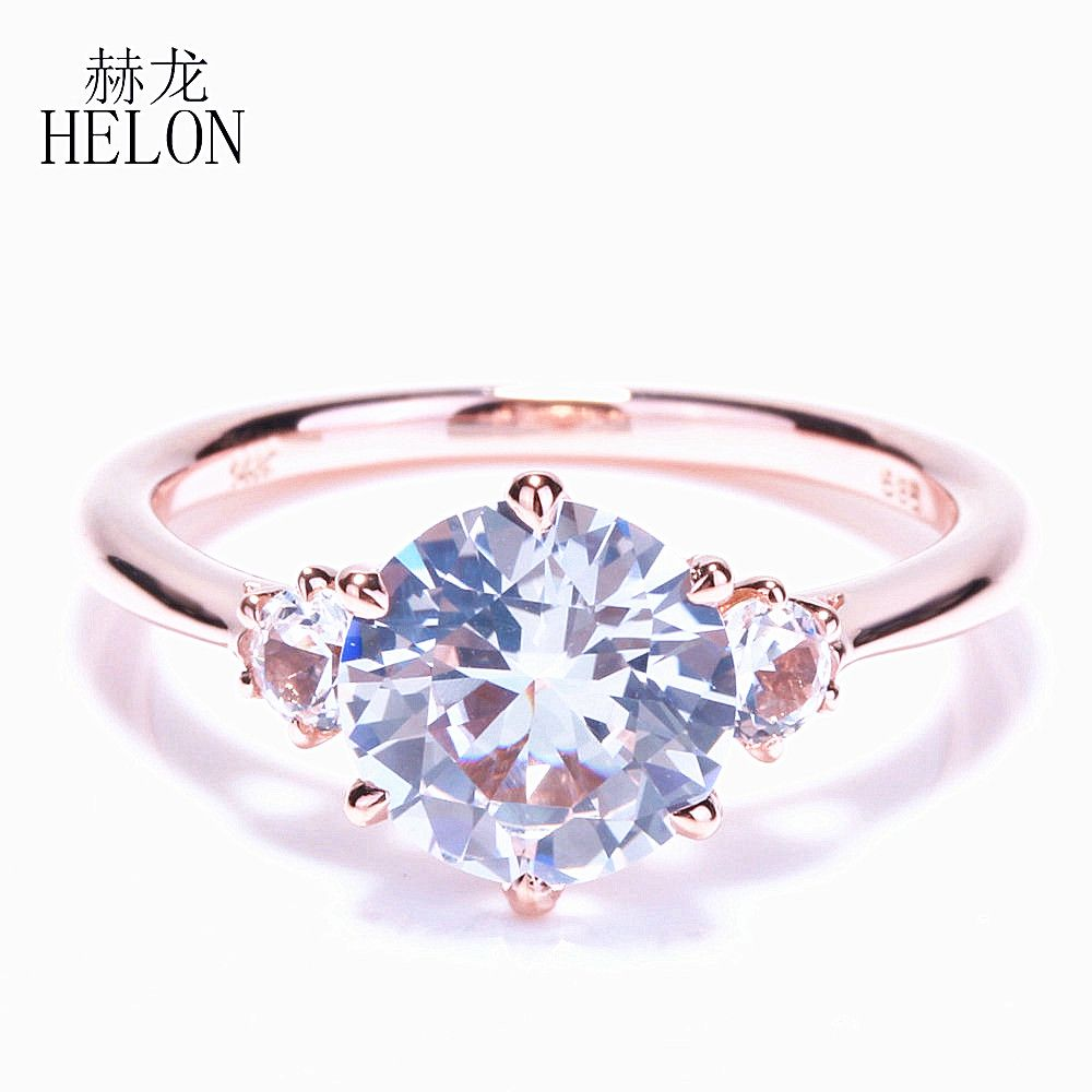 HELON SPECIAL ! SOLID 10K ROSE GOLD THREE STONE 2.431ct WHITE TOPAZ ROMANTIC ENGAGEMENT WEDDING FINE RING WOMEN'S JEWELRY RING