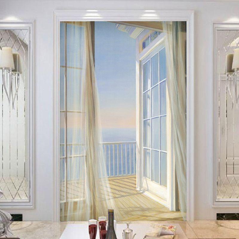 Пользовательские обои 3d расширить пространство балкон пейзажи Современный Творческий Книги по искусству настенная вход коридор Задний пл...