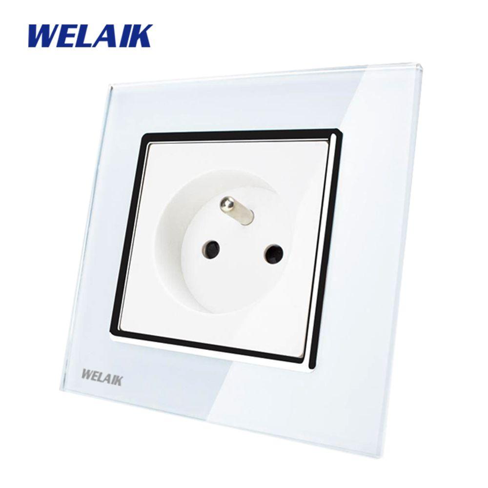 WELAIK Brand Manufacturer Glass Panel Wall Socket Wall Outlet White Black France Standard Power Socket AC110~250V A18FW/B