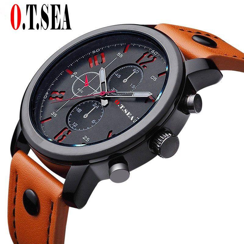 Hot Sales O.T.SEA Brand Pu Leather Watches Men Military Sports Quartz Wristwatches Relogio Masculino 8192