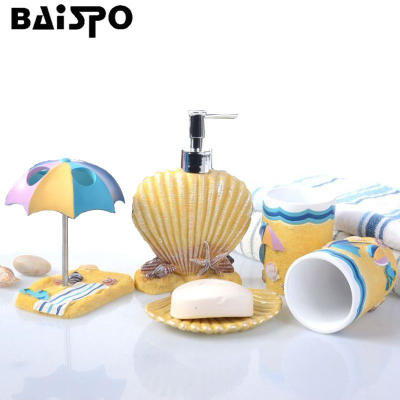 Seabed Shells Exquisite 5Pcs/set Resin Bathroom Accessories Set Soap Dispenser/Toothbrush Holder/Tumbler/Soap Dish/Lotion bottle
