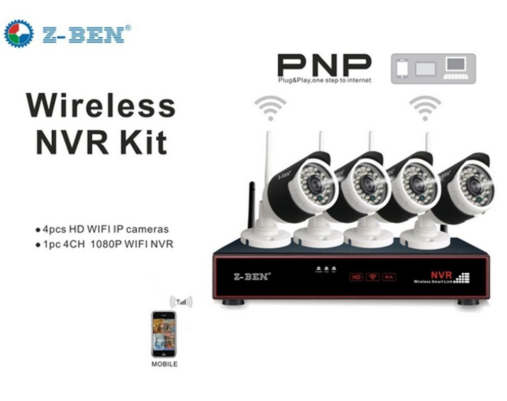 Z-BEN ZB-WK204-1.0MP 2.4G 4CH Kits Security Camera System Set Wireless Surveillance IP Cameras With 1080P WIFI NVR for Russia