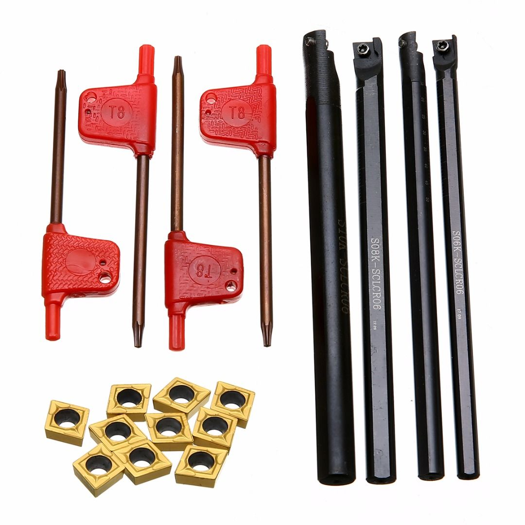 4pcs S06K/S07K/S08K/S10K-SCLCR06 Turning Tool Holder 6/7/8/10mm Boring Bar + 10pcs CCMT060204 Inserts with 4pcs Wrenches