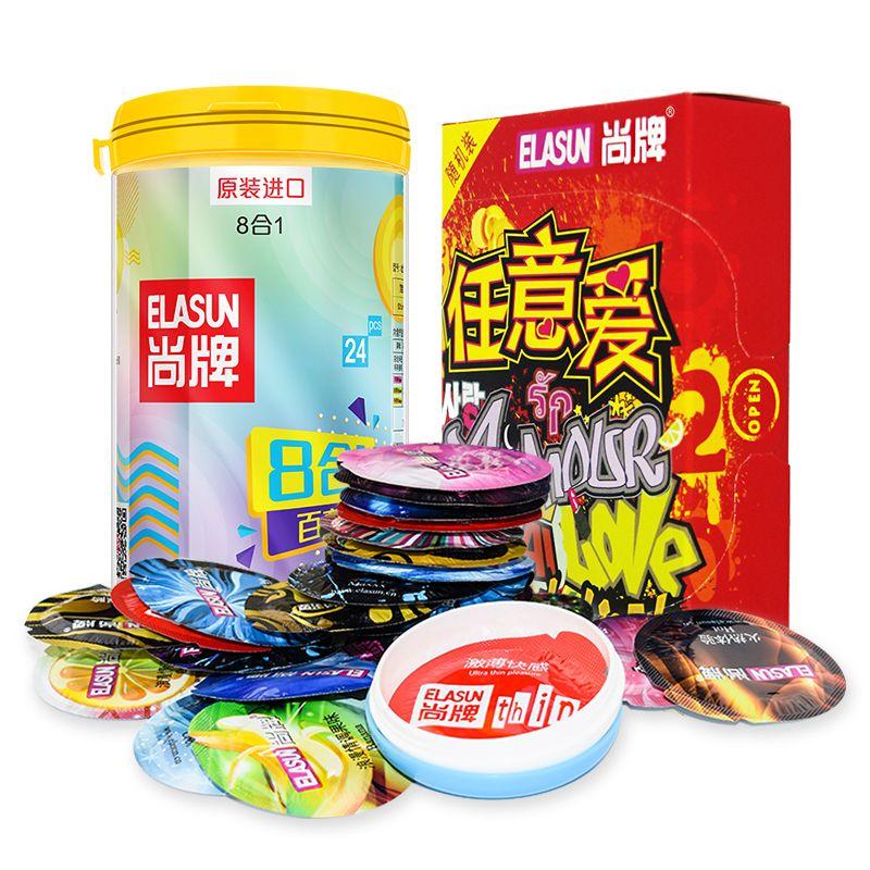 ELASUN 40pcs/Lot natural latex Condoms thread praticles G spot Ultra <font><b>thin</b></font> condoms for men sex toys penis sleeve elasun 40 adult