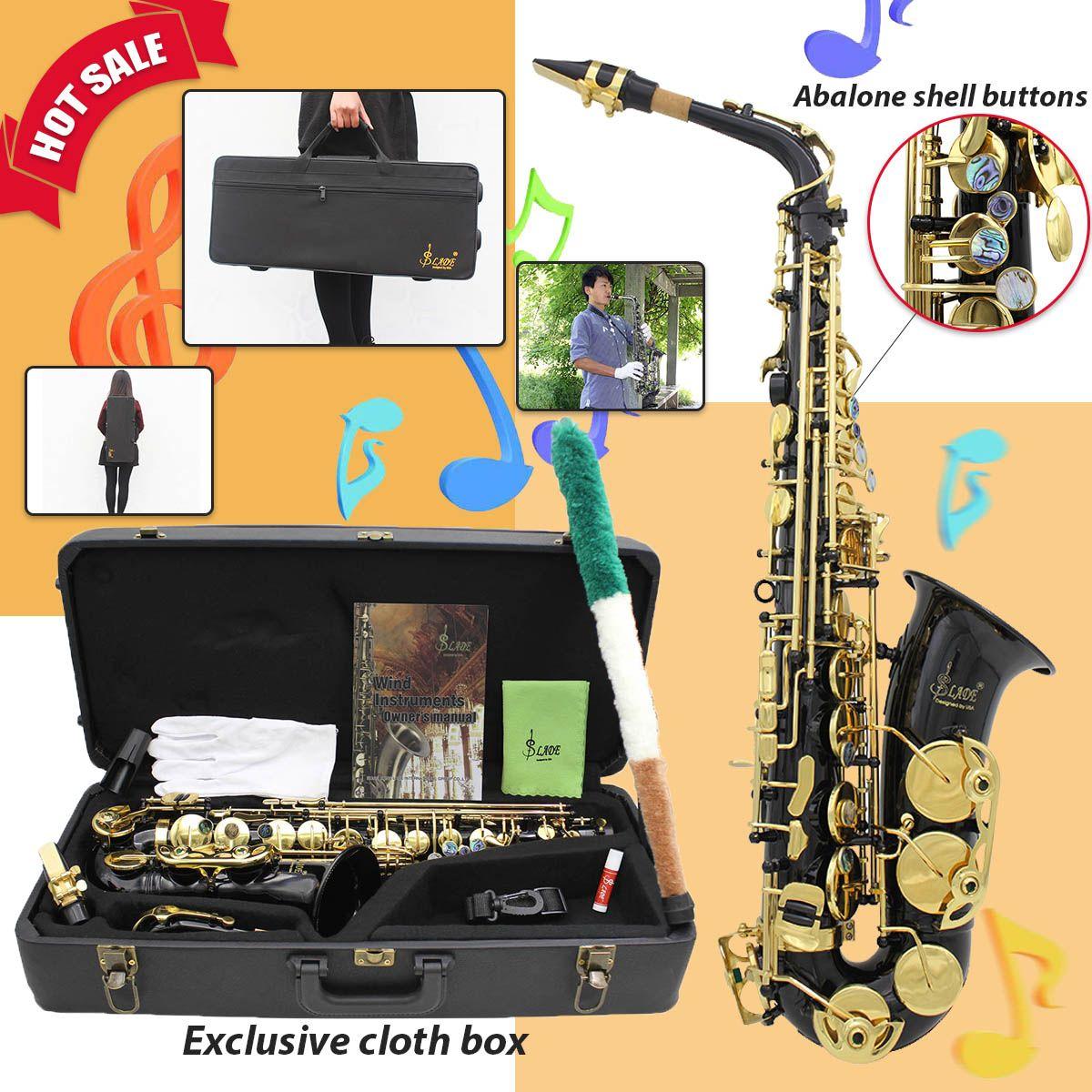 Messing Gravierte Eb E-Flache Alto Saxophon Sax Abalone Shell Tasten Mit Fall Handschuhe Reinigung Tuch Gürtel Pinsel