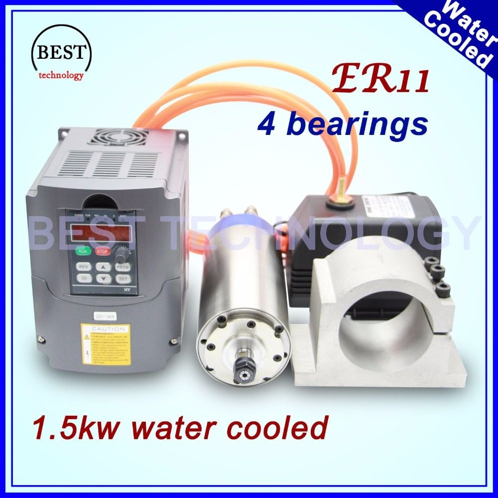 220v/380v water cooled spindle 1.5kw ER11 4 pcs bearing & 1.5kw inverter / VFD & 80mm spindle bracket & 75w water pump