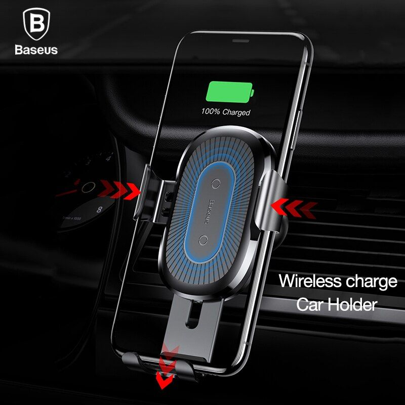 Baseus Wireless Charger Gravity reaction car phone holder 360 air vent mount GPS car phone stand for iPhone X 8 Samsung S8 S7