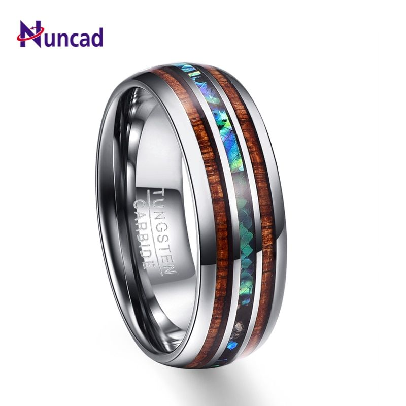 Nuncad 8mm Hawaiian Koa Wood and Abalone Shell Tungsten Carbide Rings Wedding Bands for Men Comfort Fit Size 5-14