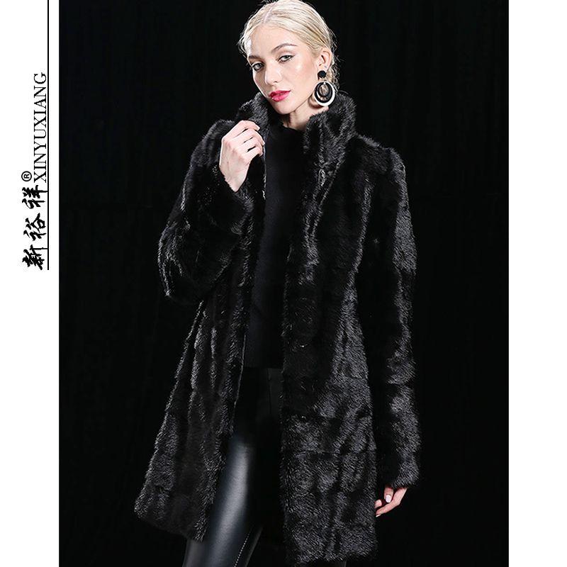 XINYUXIANG Abnehmbaren Echten nerz mantel Jacken Frauen Winter Schwarz Dicke warme Lange Mit Kapuze Natürliche Echte nerz mäntel Weibliche