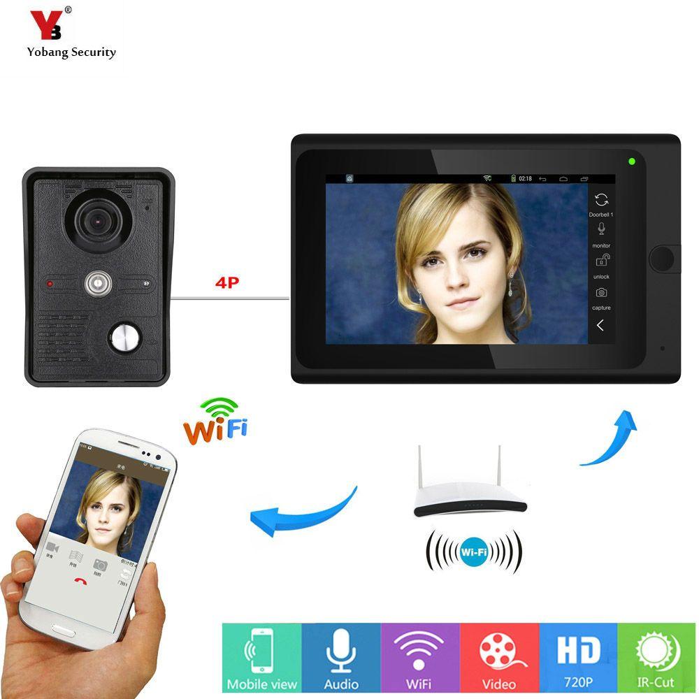 Yobang безопасности Бесплатная доставка 7 дюймов проводной/Беспроводной WI-FI IP видео-телефон двери Дверные звонки домофон WI-FI Дверные звонки дл...